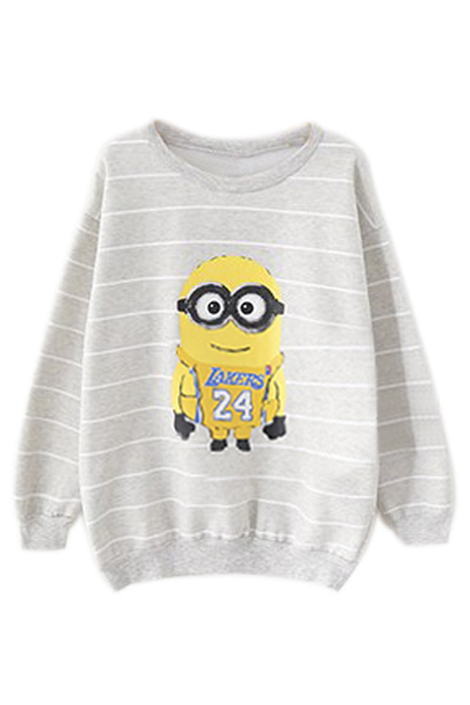 ROMWE | ROMWE Striped Minions Print Grey Sweatshirt, The Latest Street Fashion