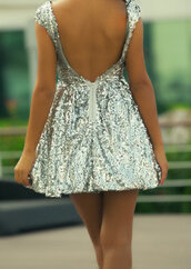 dress,sequins,silver,pretty,open back,cut-out,backless,short,flirty