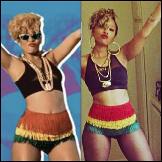 yellow green music multicolor summer outfits festival crop tops gold necklace blouse rasta fringe shorts rihanna shorts red