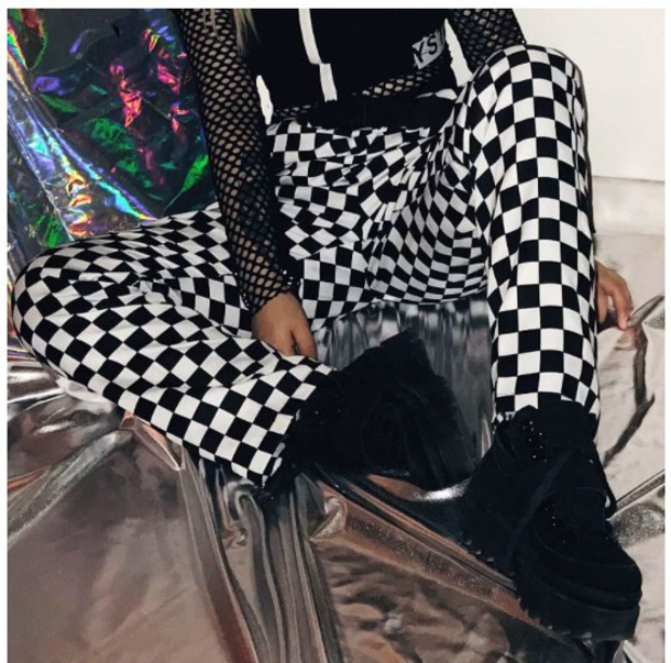 pants girly black black and white checkered checkered pants tumblr