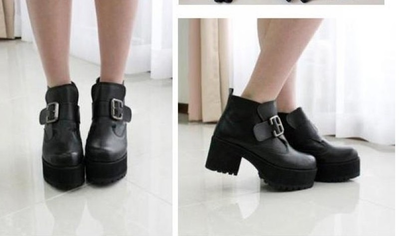 Rock Buckle Strap Chunky Heels Platform Womens Ankle Boots Shoes ...