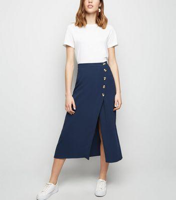 Navy Linen Look Button Up Midi Skirt   New Look