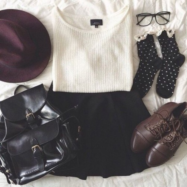 socks shoes sweater white knitwear cute tumblr outfit bag hat skirt top backpack shorts blouse hipster tumblr girl tumblr outfit