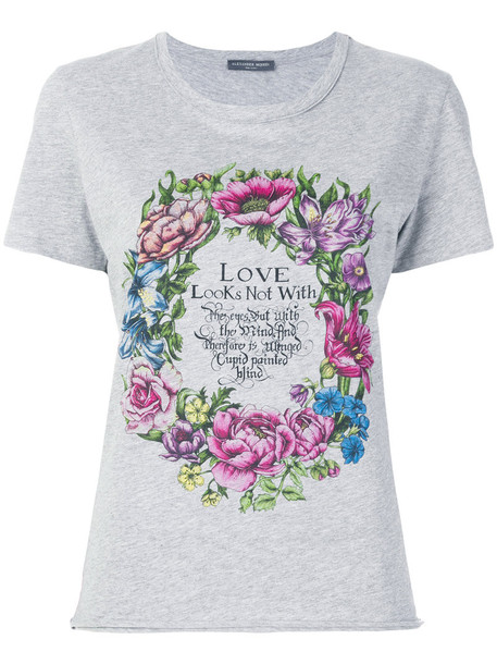 Alexander McQueen - floral print T-shirt - women - Cotton - 36, Grey, Cotton