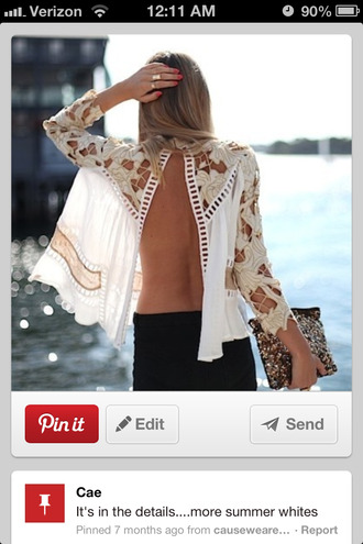 shirt split back long sleeves sheer shirt blouse white open back lace top