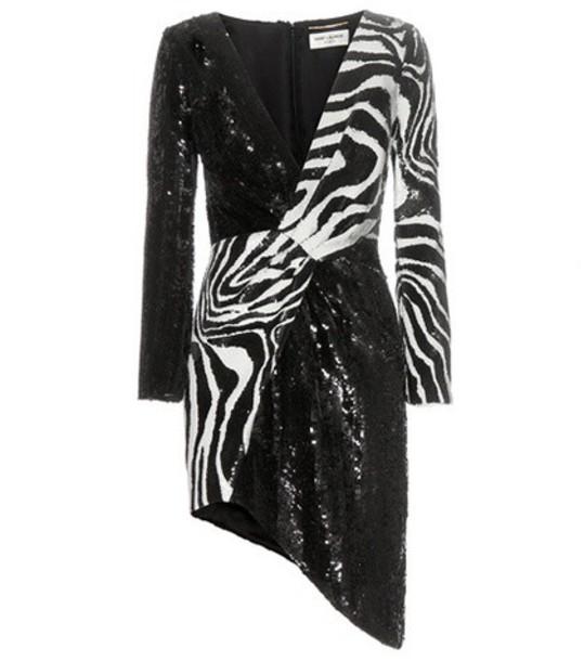 Saint Laurent dress mini dress mini embellished wool black