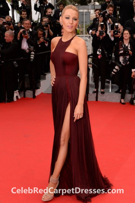 Blake Lively Burgundy Pleated Chiffon Gown Cannes 2014 Red Carpet