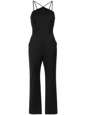 jumpsuit strappy women spandex cotton black
