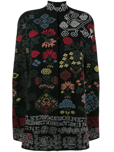 Alexander Mcqueen cape cross women spandex floral black silk wool knit top