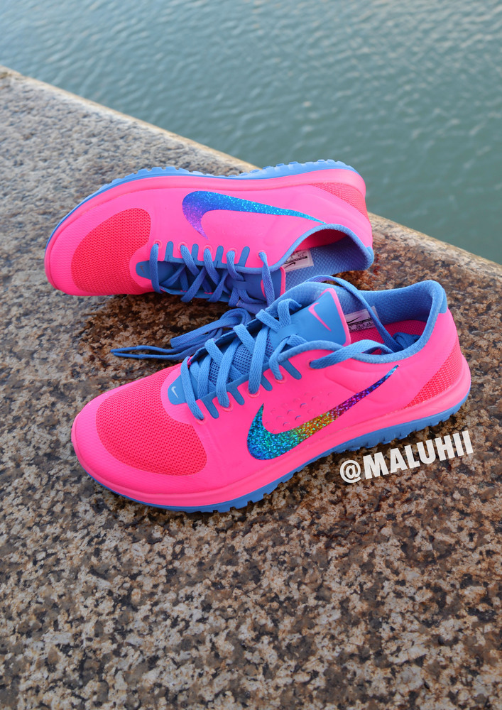 neon pink nike running shoes with custom glitter tick