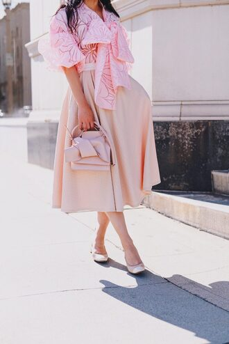hallie daily blogger jacket blouse shoes hat skirt bag sunglasses pink blouse pink bag pink skirt midi skirt spring outfits all pink everything