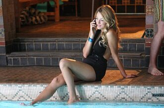 swimwear black serena van der woodsen black swimwear one piece swimsuit gossip girl blake lively