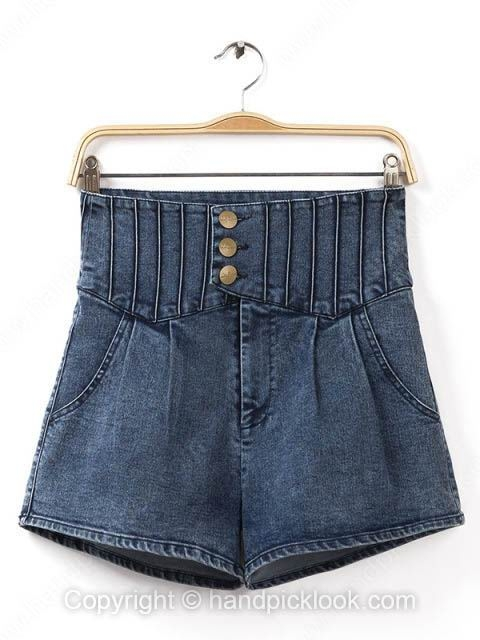 Dark Blue High Waist Pockets Denim Shorts - HandpickLook.com