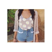 tank top,wihte,floral,floral t shirt,yellow,light brown,shorts,vintage,floral tank top,sweater,flowers,brown,jacket,crop tops,daisy,sunflower,hipster,top,bracelets,coat,shirt,grey,High waisted shorts,blouse,pants,t-shirt,romper,white,lace,party,dress,short,pretty,cardigan,blouse beyonce beige nude,spring