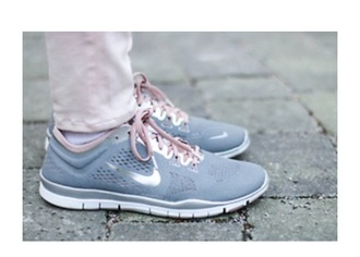 shoes rose silver grey nike cute sweet