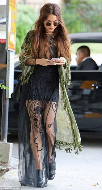 dress green black mesh transparent see through boho kimono vanessa hudgens maxi dress black dress jacket
