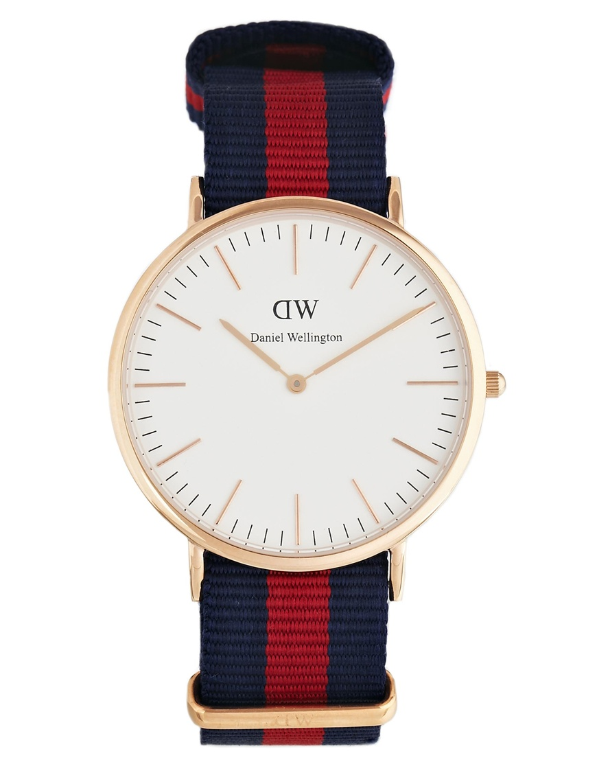 Daniel Wellington Oxford Rose Gold Canvas Strap Watch at asos.com