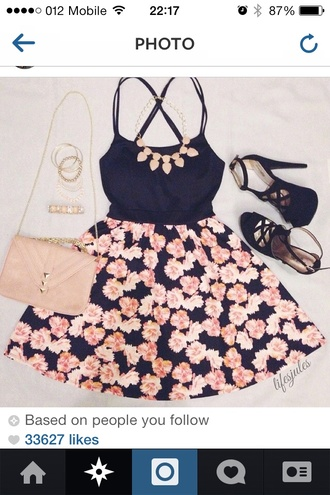 bag shoes skirt purse dress top jewels heels outfit cute skirt jewelry floral orange flowers skater skirt summer dress cute dress tumblr pink girly floral dress date outfit