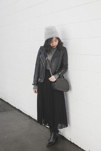 skirt tumblr black skirt midi skirt pleated pleated skirt sweater grey sweater grey beanie beanie bag black bag boots black boots ankle boots