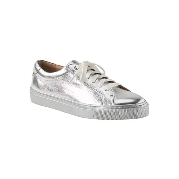 Banana Republic Women's Essential Leather Sneaker Super Silver Regular Size 5