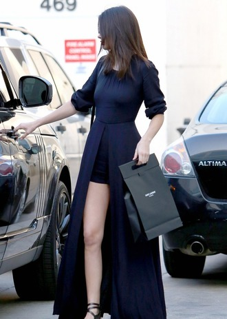 kendall jenner feminine slit dress navy