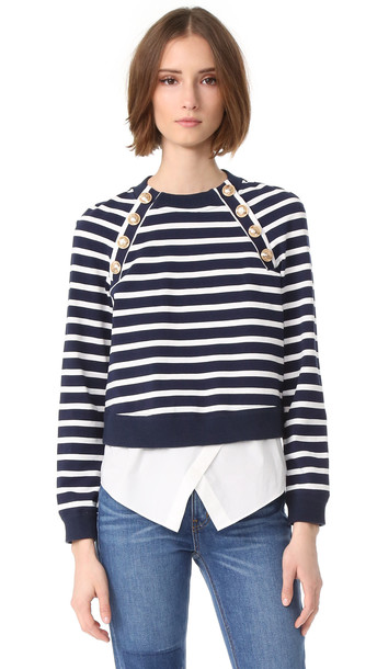 Derek Lam 10 Crosby Sweatshirt With Buttons - Midnight/Ivory