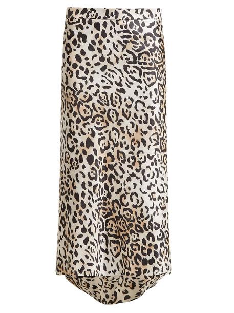 RAEY Bias godet leopard-print twill slip skirt
