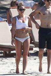 swimwear,hilary duff,white swimwear,bikini top,bikini,bikini bottoms