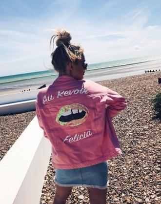 jacket pink denim prettylittlething 36683 denim jacket french girl style summer jacket oversized lips