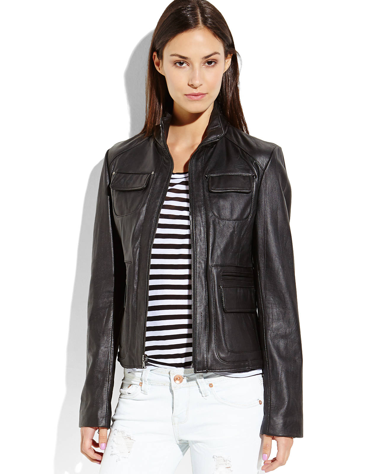KENNETH COLE Black Six-Pocket Leather Jacket | Shop Women's Clothing & Accessories | Century 21 Department Store