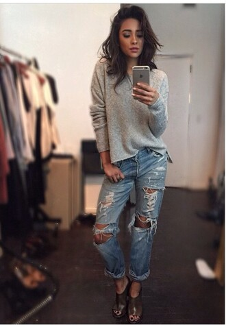 sweater shay mitchell celebrity style celebrity fashion style grey sweater jeans ripped jeans mules boyfriend jeans blouse shoes