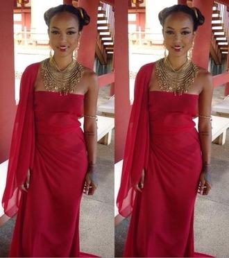 red dress karrueche statement necklace gold jewelry
