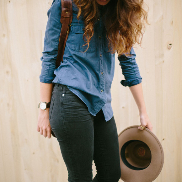 brown hat indie hipster Belt backpack denim shirt leather backpack bag the mop top blogger