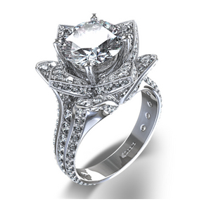 Beautifully blossoming flower diamond ring in 14k white gold