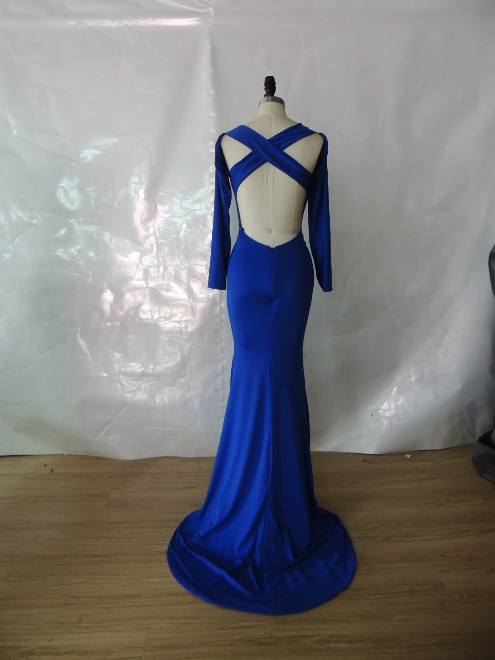 Aliexpress.com : Buy Sexy Customized Made Evening Dresses 2015 vestido de festa Royal Blue Cross Back Long Satin Evening Gown For Women Fast Shipping from Reliable dress ruffle suppliers on DressHome