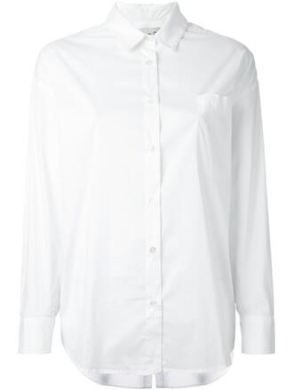 shirt women classic spandex white cotton top