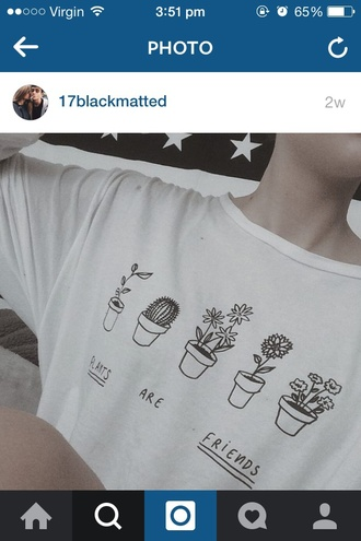 shirt black and white black white cactus plants tumblr tumblr worthy oversized tee friends cute t-shirt top