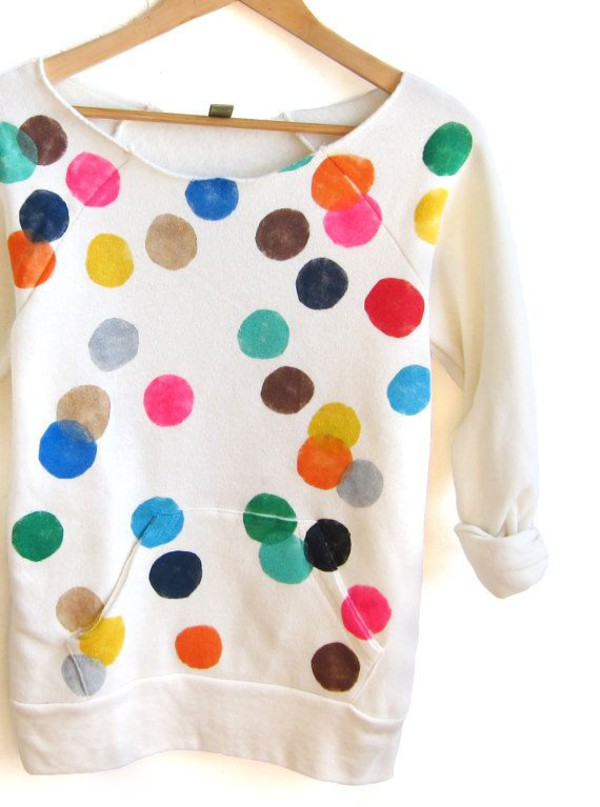 sweatshirt girl colorful shirt baby girl cute sweet polka dots bright