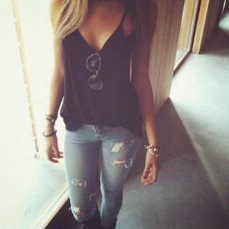 jeans tank top pants t-shirt black loose fit ripped jeans tight jeans light jeans