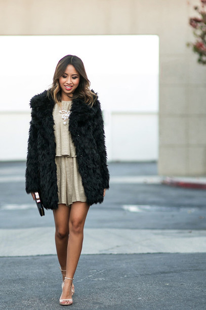 Shoes: lace and locks, blogger, fur coat, black coat, pearl ...