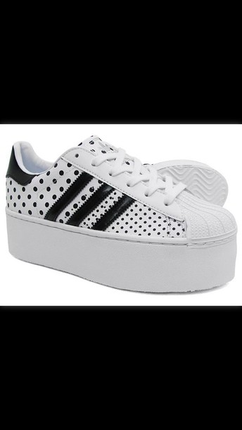 shoes white superstar adidas platform shoes