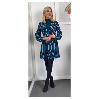 dress blue poloneck blue geometric print dress blue suede ankle boots holly willoughby