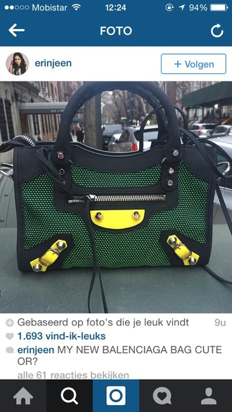 bag green yellow black handbag balenciaga