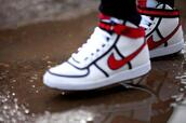 shoes,nike shoes,white,red,high top sneakers,bag,nike,red and white,red nike,nike high tops,nike vandals,sneakers,black,clothes,white shoes,red shoes,black shoes,high top nikes