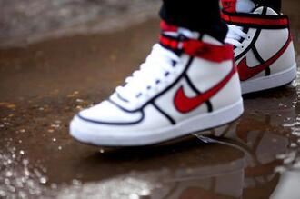 shoes nike shoes white red high top sneakers bag nike red and white red nike nike high tops nike vandals
