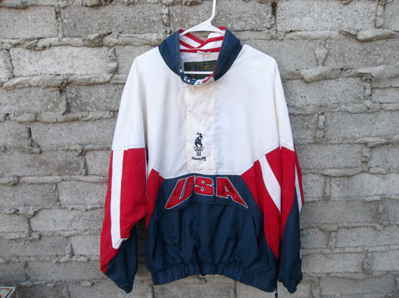USA Olympics windbreaker jacket, blue, red, and white by Starter