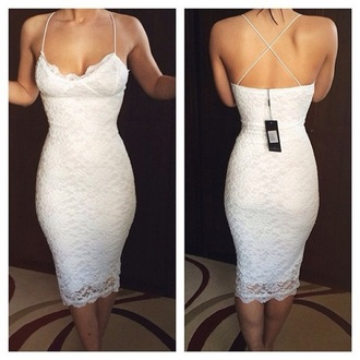dress white lace form fit dress spaghetti straps lace dress below knee dress nude below knee dress
