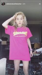 dress,thrasher,thrasher shirt,pink,fishnet tights