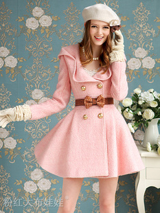 2012 autumn new arrival pink circle it sweet slim waist expansion bottom wool coat women outerwear circle
