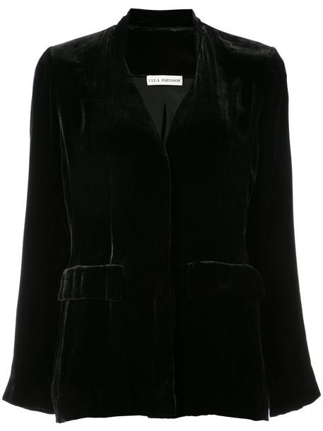 blazer open women black silk jacket